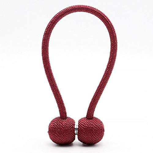 WEEFORT 1 Pcs Curtain Tieback Strong Magnetic Holder Polyester Velvet Ball Hold Backs Clip for Window Decoration