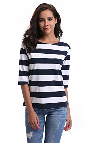 Misses Button (MISS MOLY Women's Tops Summer Half Sleeve Cute Casual Blouses Striped Tee Shirts)
