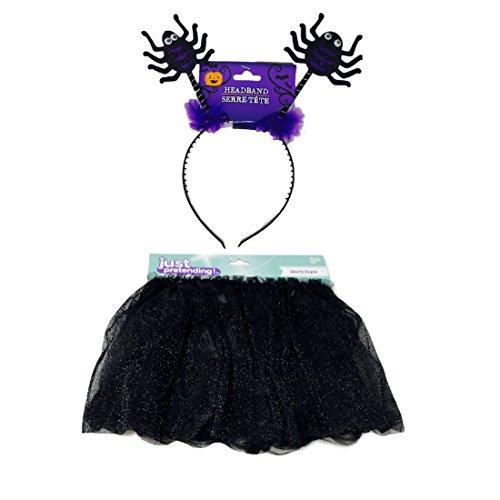 Black Spider Halloween Costume for Girls Glittery Skirt, Headband