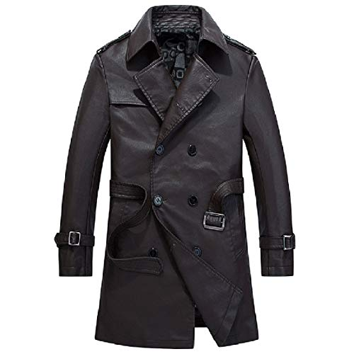 Solid Breasted Velvet Md Jacket Double Mens Coffee Pu Mogogo Slim Plus Long Fit Leather q0n1H