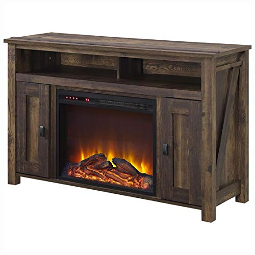 Cheap Electric Fireplace 50-inch TV Stand in Medium Brown Wood with 1 500 Watt Electric Fireplace Black Friday & Cyber Monday 2019