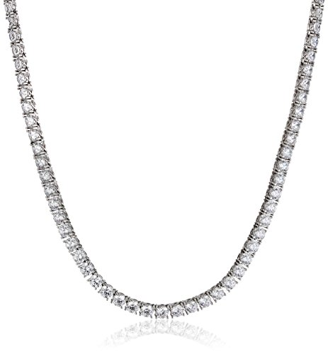 Platinum Plated Sterling Silver Tennis Necklace set with Round Cut Swarovski Zirconia (77.16 cttw) (5mm), 17