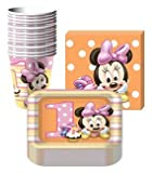 Disney Minnie Mouse 1st Birthday Party Supplies Pack Including Plates, Cups and Napkins - 16 Guests