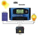 Exteren 40/50/60/100A MPPT Solar Panel Regulator Charge Controller 12V/24V Auto Focus Tracking Charger Portable (C)