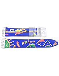 Swatch Replacement 17mm Blue Watch Band with Arrow Design