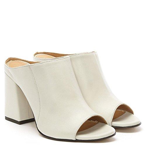 Mula De Talón Daniel Pammy Cuero Blanco Bloque White Leather
