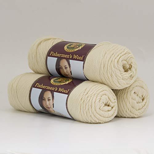 ((3 Pack) Lion Brand Yarn 150-098 Fishermen's Wool, Natural)
