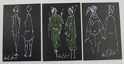 Set of 3 printed drawings in postcard size - Three different couples on black - white pen with colors (set No. 5) (Different Postcards)