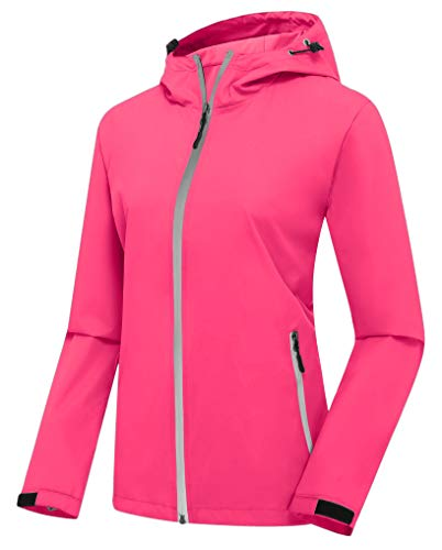 ZSHOW Women's Cycling Hood Windbreaker with Hood Night Running Gear(Watermelon Red & Reflective Strips,Medium) (Runners Shop The City Rapid)