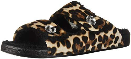 (Dearfoams Women's Double Strap Slide Slipper, Leopard, M Regular US)