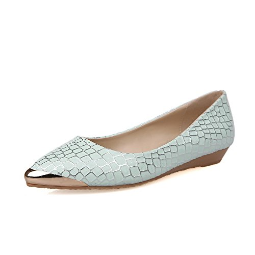 VogueZone009 Damen Spitz Zehe Ziehen auf PU Leder Rein Niedriger Absatz Pumps Schuhe Blau