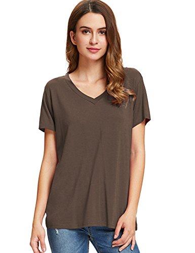 Floerns Women's V Neck Short Sleeve Casual T-Shirt Brown XL