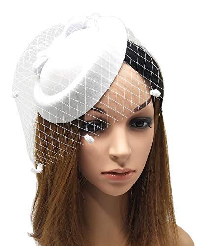 Coolwife Fascinators Hats 20s 50s Hat Pillbox Hat Cocktail Tea Party Headwear with Veil for Girls and Women (B White)