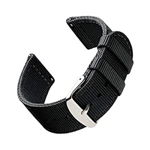 Archer Watch Straps | Premium Nylon Quick Release Watch Bands for Men and Women, Watches and Smartwatches (Black, 18mm)