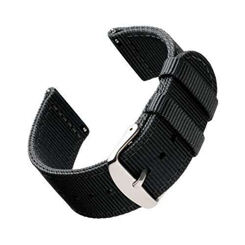 Archer Watch Straps | Premium Nylon Quick Release Replacement Watch Bands for Men and Women, Watches and Smartwatches (Black, 22mm) Black Nylon Watch Band