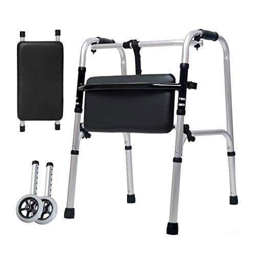 ZHBWJSH Aluminum Alloy Double Handrails for The Elderly Assisted Lower Limbs Walking Stick Four Feet Disabled Walking Wheel Bath Plate 47cm × 52cm × 73cm