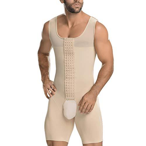 AICONL Fajas modeladoras Body Shaper Bodysuit Men Underwear Butt Lifter Girdle Adjust Hook Beige (Shapewear Butt For Lifter Men)