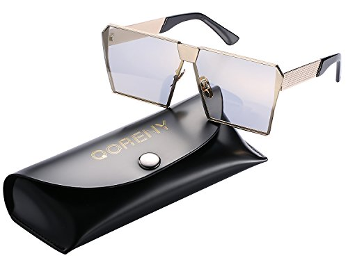 Sunglasses For Men Women Square Oversized Metal Frame Brand Designer (Gold frame/gold lens, As - Square Designer Sunglasses Big
