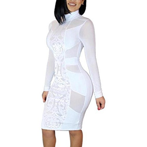 Fashion Womens Sexy Sheer Mesh Pacthwork Bodycon Dress Night Out (White, XL)