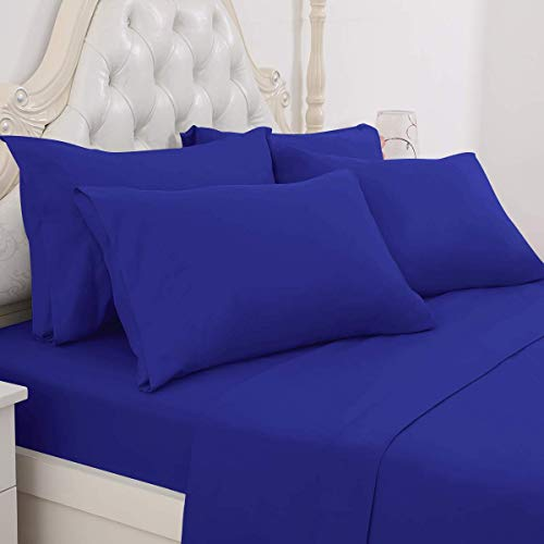 BYSURE Bed Sheets Queen Size - Ultra Soft 1800 Thread Count Double Brushed Microfiber, Deep Pockets, Hypoallergenic, Wrinkle & Fade Resistant Cooling Bed Sheets(6 Piece Royal Blue)