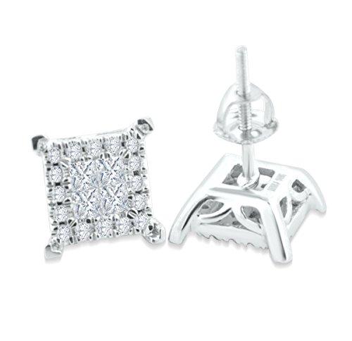 Diamond Earrings for Men Square Shaped 1/2ctw Princess Cu...