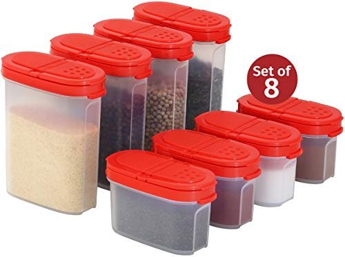 (Clear Plastic Empty Spice Container Spice Jars with Lid - Kitchen Bottle Dispenser Store Spice, Herb, Rub, Sugar - 2-Way Lids Sift or Pour Shaker-Refillable Airtight Jar Red Cap 8 pk. 4 mini 4 big)