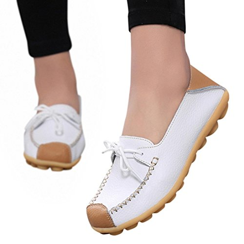 Clearance!Women Casual Peas Shoe,Todaies Women Bowknot Flat Breathable Soft Bottom Wild Leisure Peas Boat Shoes (US:5.5, White)