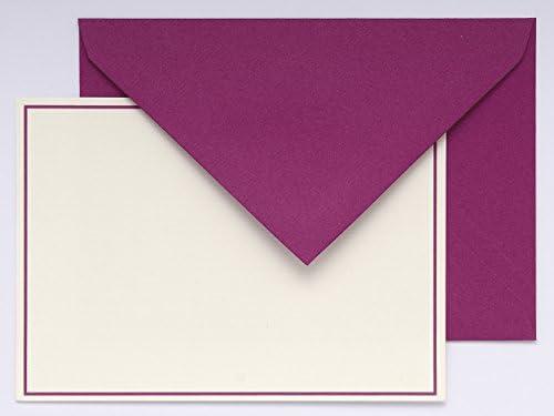 G.Lalo 32615L Karten Set Vergé de France (25% Hadern mit 10 Karten Vergé Papier 300 g, 107 x 152 mm, mit Farbrand himbeer, 10 Umschläge, himbeer, weiß gefüttert, 114 x 162 mm, 1 Pack)