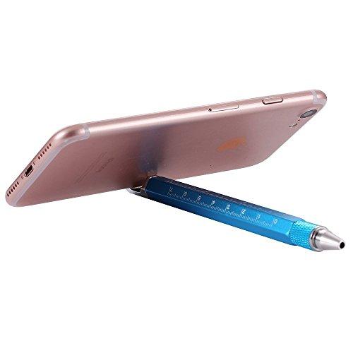 Shulaner 7 en 1 Tech Herramienta Bolígrafo con regla, abrebotellas, teléfono soporte, bolígrafo, lápiz capacitivo y 2 Tornillo herramienta conductor, multifunción, Fit para hombre, Giftt, negro amarillo