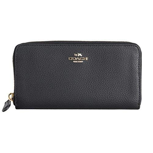 Coach F16612 BM 02 Pebbled Leather Accordion Zip Around Wallet (IM/Black), Large