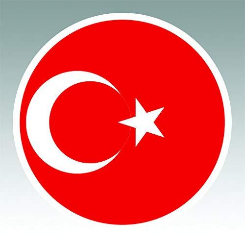 (Round Turkish Flag Sticker Premium Decal Die Cut Turkey Circle)