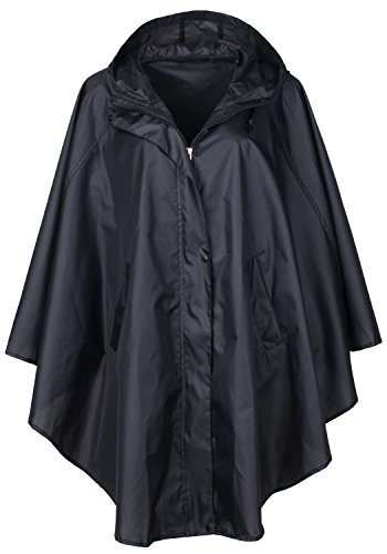 QZUnique Women's Waterproof Packable Batwing-Sleeved Raincoat Rain Poncho Jacket Coat Hooded for Adults with Pockets (Slickers Women For Rain)