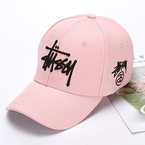 (capswhh Summer Baseball Cap Tide Brand Hat Summer Fashion Wild Baseball Cap Sports Travel Female Outdoor-Side Mark Stuart - Pink_Adjustable)
