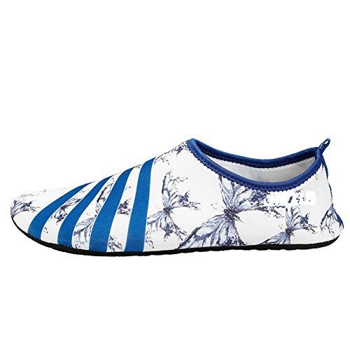 Lucdespo zapatillas de playa deportes Buceo natación antideslizante SHOES caminadora zapatos descalzos, cuidado de la piel Mariposa Azul blanco