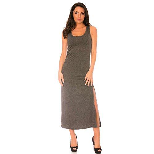 Miss Wear Line - Longue robe débardeur anthracite fendu sur le côté