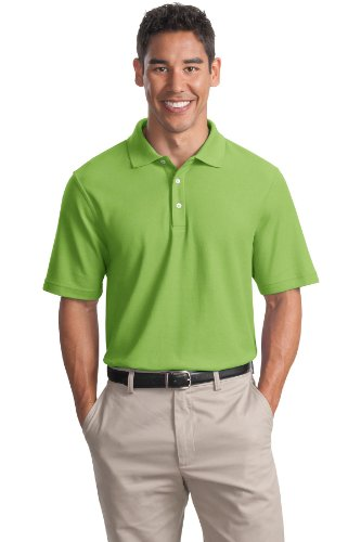 (Cotton Pique Knit Sport Shirt, Color: Green Oasis, Size: Small)