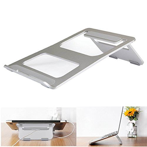 "CCdo Office Aluminum Laptop Stand - Matte Surface Anti-Slide Desk iPad Notebook Stand Raiser Ventilated Ergonomic Design Notebook Cooling Stand Holder for 9"" - 17"" Ultrabook MacBook Air/Pro - Silver by CCdo (Image #7)"