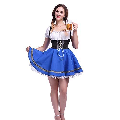 NSPSTT Women German Dirndl Dress Bavarian Oktoberfest Carnival Halloween Costume Blue ()