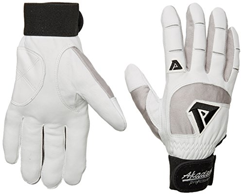 Akadema Professional Series - Akadema Professional Batting Gloves (White/Grey, Large)