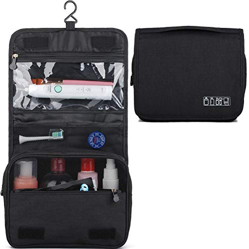Hanging Travel Toiletry Bag Cosmetic Make up Organizer for Women and Men Waterproof (Y-Black)