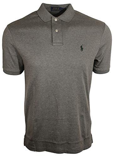 Polo Ralph Lauren Men Medium Fit Interlock Polo Shirt (Large, Grey Heather)