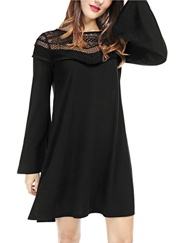 Buy bell sleeve black lace dress - 5