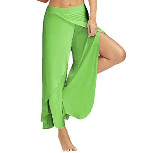 Willsa Women Casual High Waist Fitness Yoga Sport Pants Nine Points Leggings (M, Green)