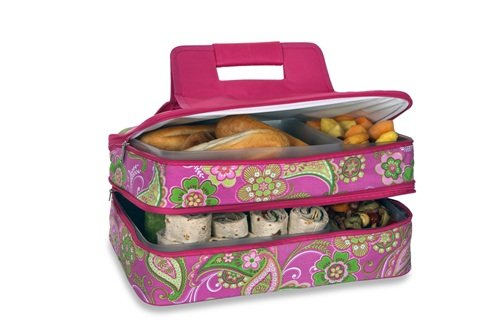 Casserole Carrier 2 level Thermal Insulated Hot and Cold Pot Luck Food Carrier with Bonus Containers by Picnic Plus Pink Desire