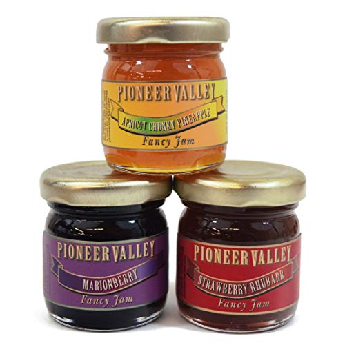 Pioneer Valley Gourmet Mini Jam Sampler 3 Pack 1.5oz Each - Marionberry, Apricot Chunky Pineapple, Strawberry Rhubarb