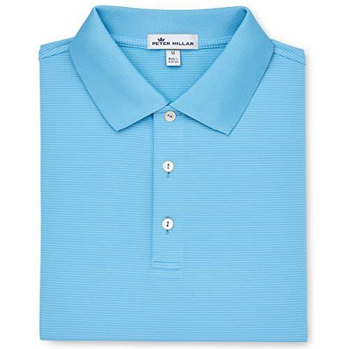 目を覚ますあいにく観察するPETER MILLAR Halford Stripe パフォーマンス ポロシャツ ブルー L