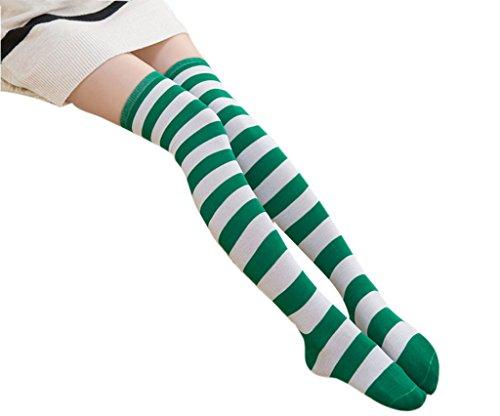 Green Striped Leggings (DAZCOS Anime Multicolor Preppy Over Knee Mizore Shimakaze Stripe Stockings (Green+White))