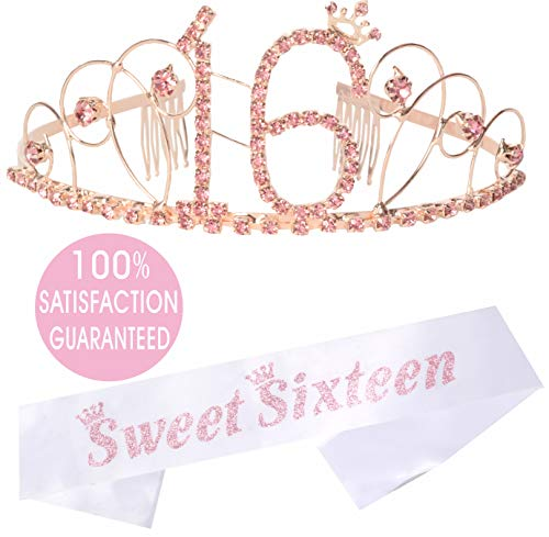 (16th Birthday Tiara and Sash| HAPPY 16 Birthday Party Supplies| Sweet Sixteen Black Glitter Satin Sash | Rhinestone Tiara Birthday for 16th Birthday Party |Sweet Sixteen Birthday (Silver) (pink crown))