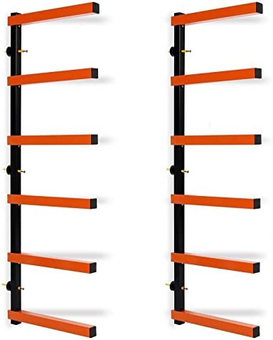 Blue_Bright 6 Shelf Lumber Storage Rack Wall-Mounted Steel Wood Pipes Rack 600 LB New