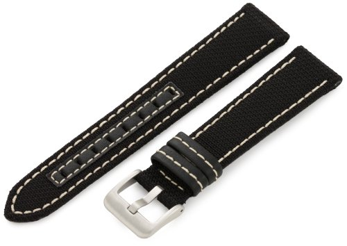 Hadley-Roma Men's MSM848RT 200 20-mm Black Genuine 'Kevlar' with Off-White Stitching Watch Strap